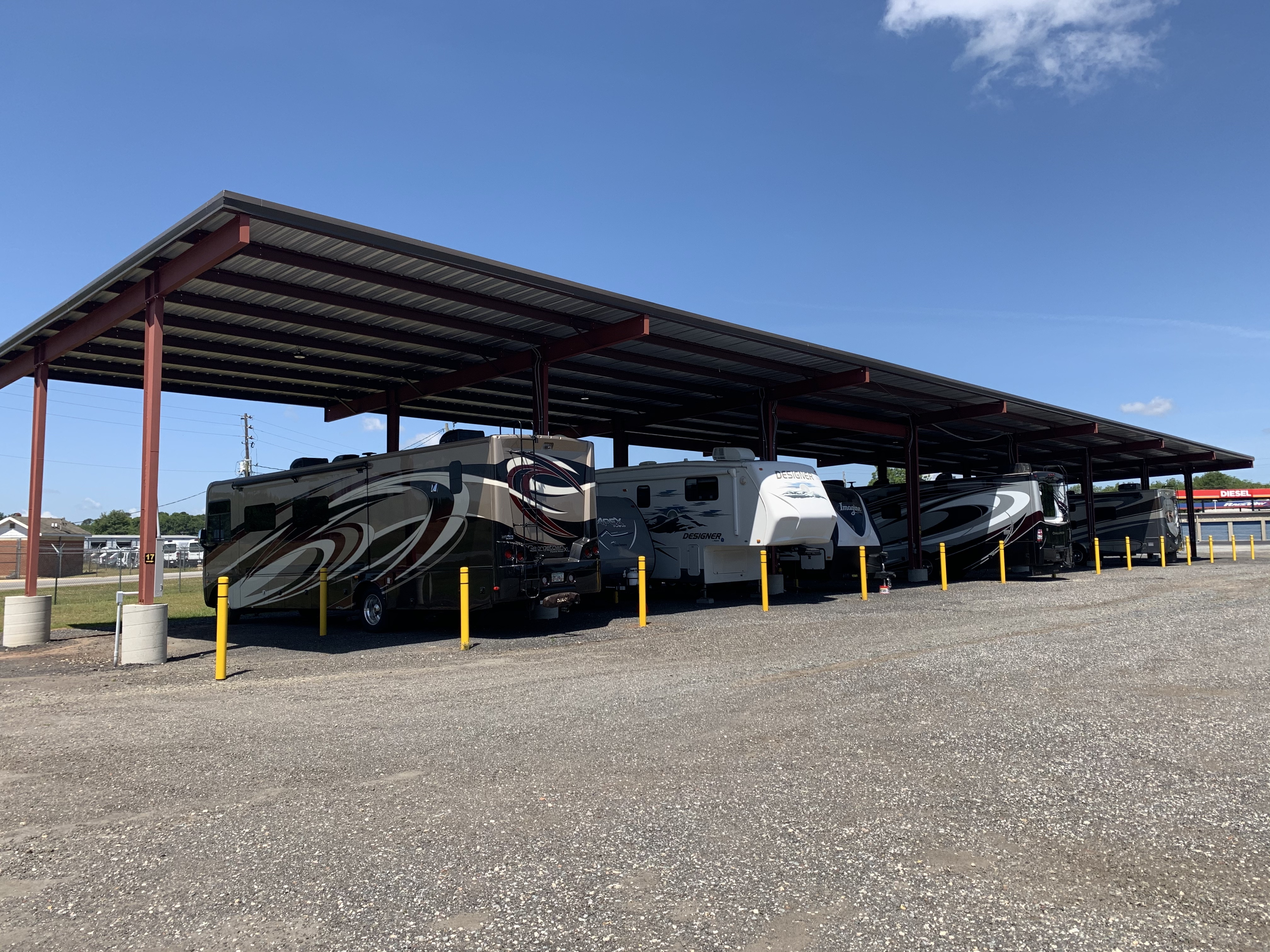 Covered parking spots with power hookup for RVs and campers