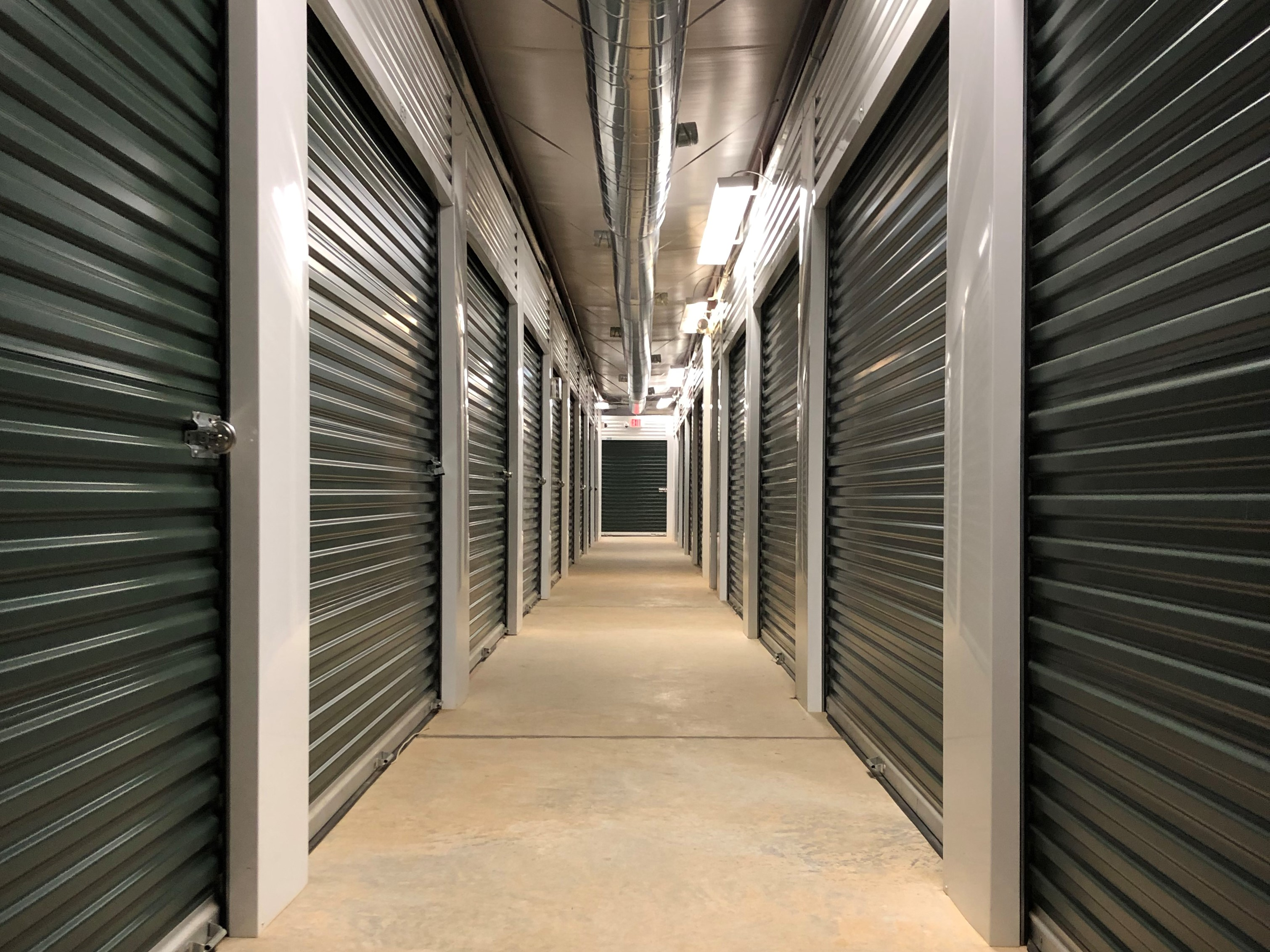 hallway of interior access storage units