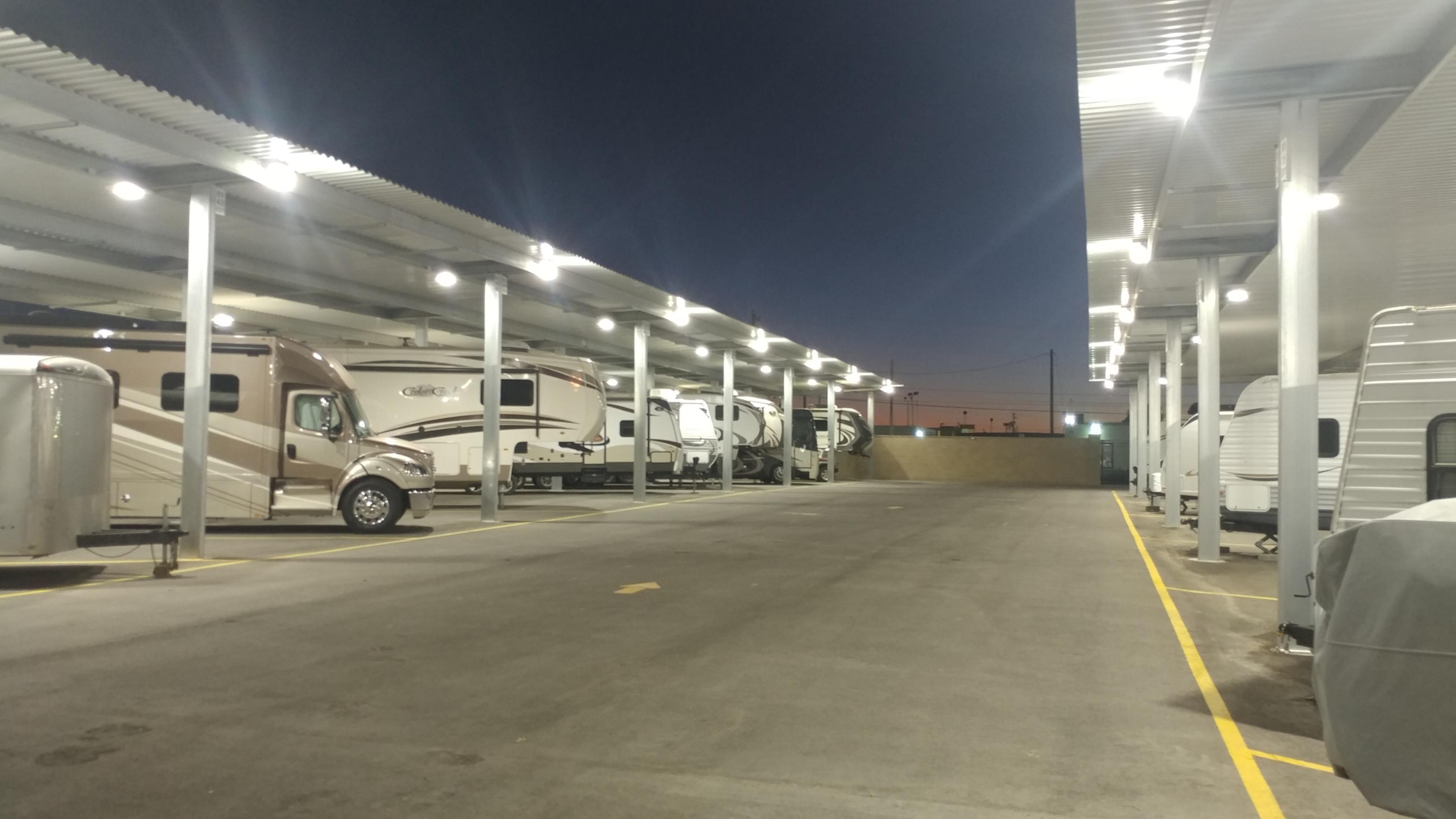 Well Lit RV Storage in Odessa, TX