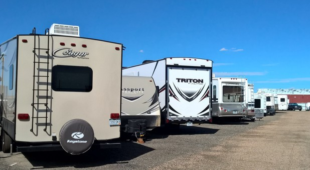 AARV RV and auto storage row of parked RV's