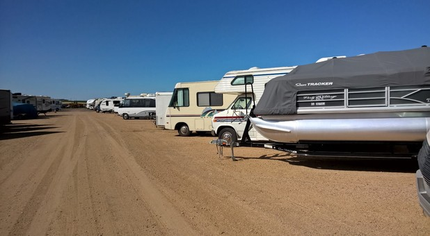 AARV RV and auto storage row of RV's and Boats