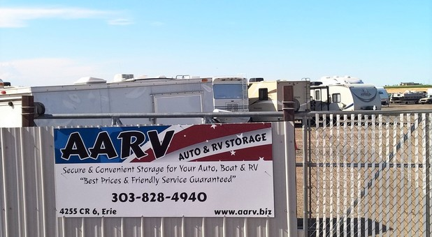 Security fence with AARV sign