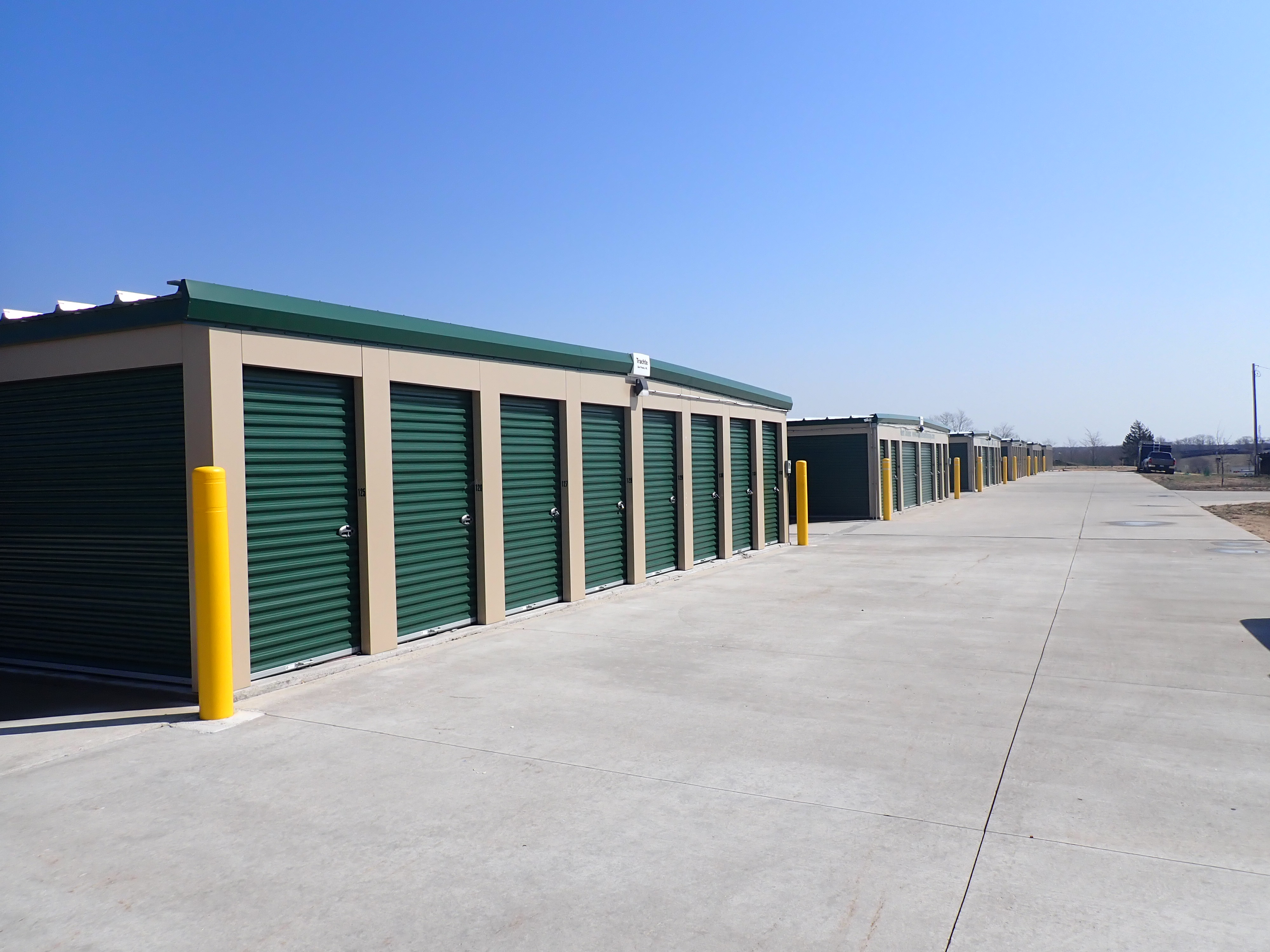 Wide aisles to access your drive up storage unit easily
