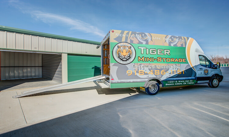 Use our move in truck with a new Tiger Mini-Storage storage unit rental