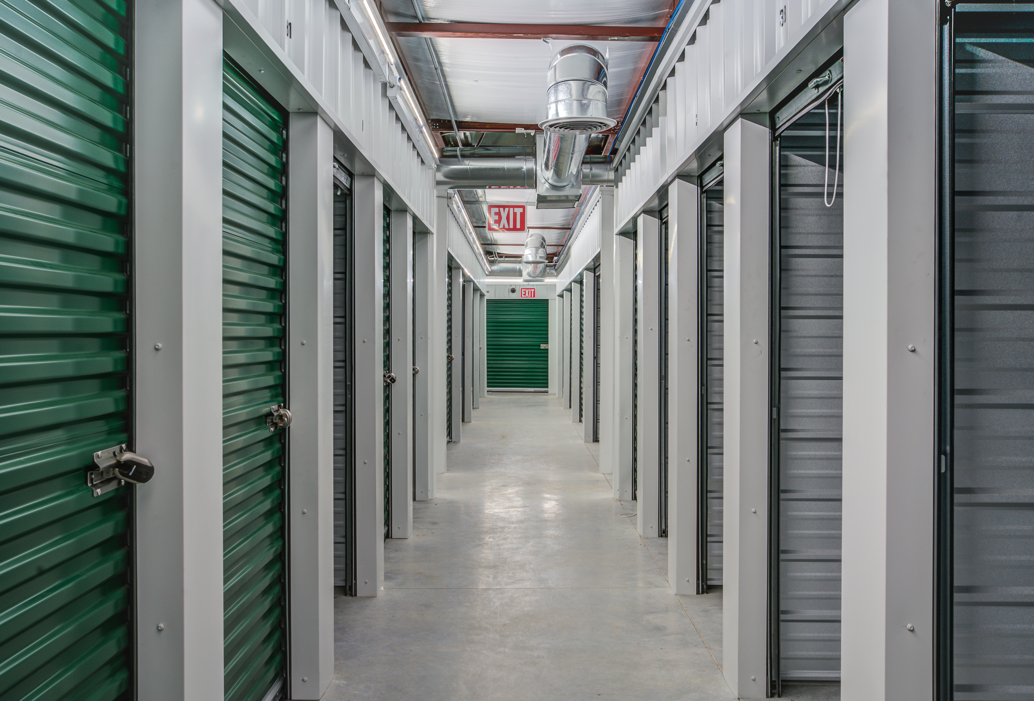 two rows of interior storage units