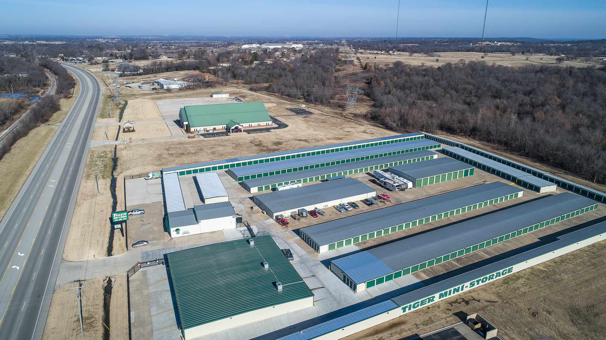 Aeriel view of Tiger Mini Storage facility