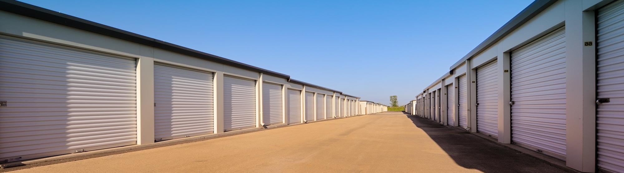 Rows of storage units in Colorado Springs, Colorado