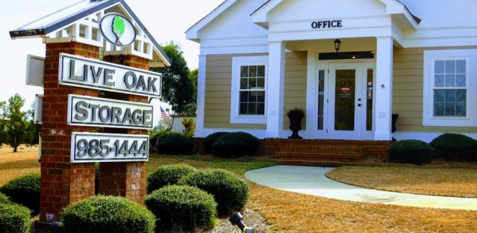 live oak storage front sign and office entrance Moultrie, GA