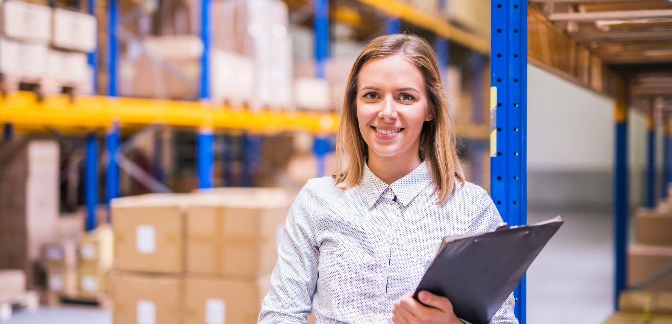 woman standing in document storage warehouse