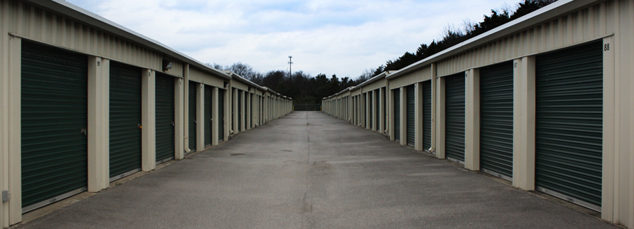 two self storage buildings with drive up access