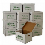 stack of moving boxes with sofia storage centers logo