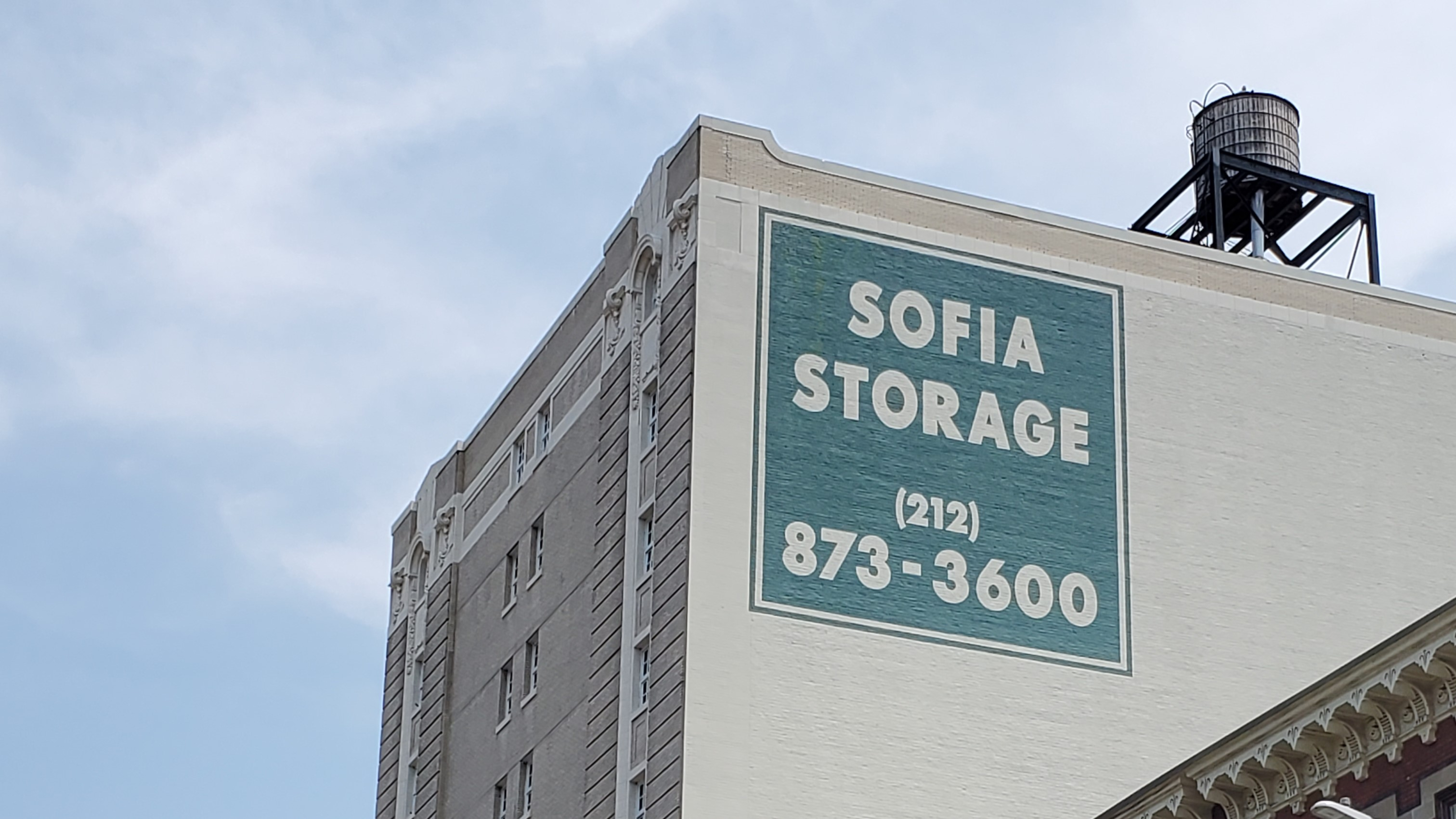 sofia storage sign on the side of a building