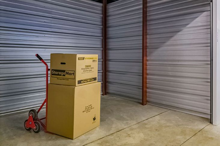 Boxes in climate controlled storage unit