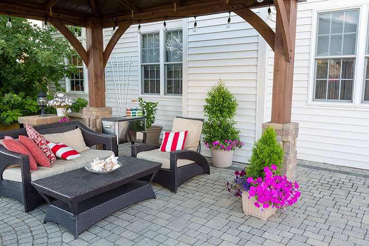 Outdoor furniture on display before moving into self storage