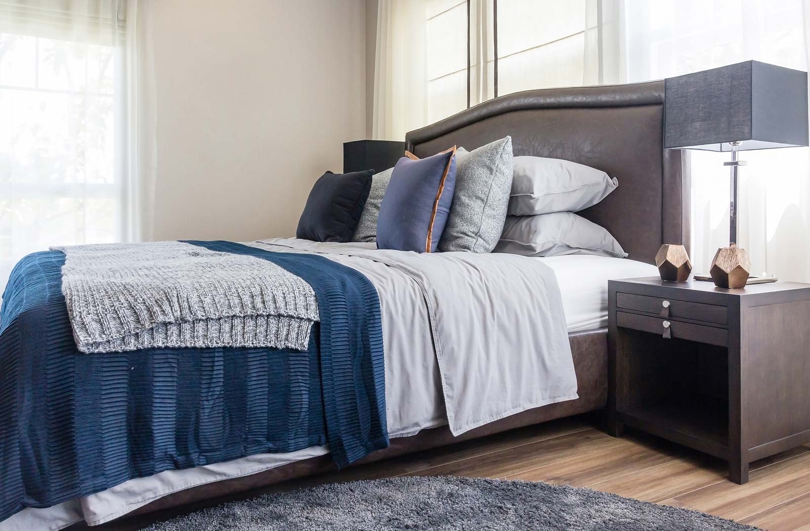 Close up of a bedroom used in home staging