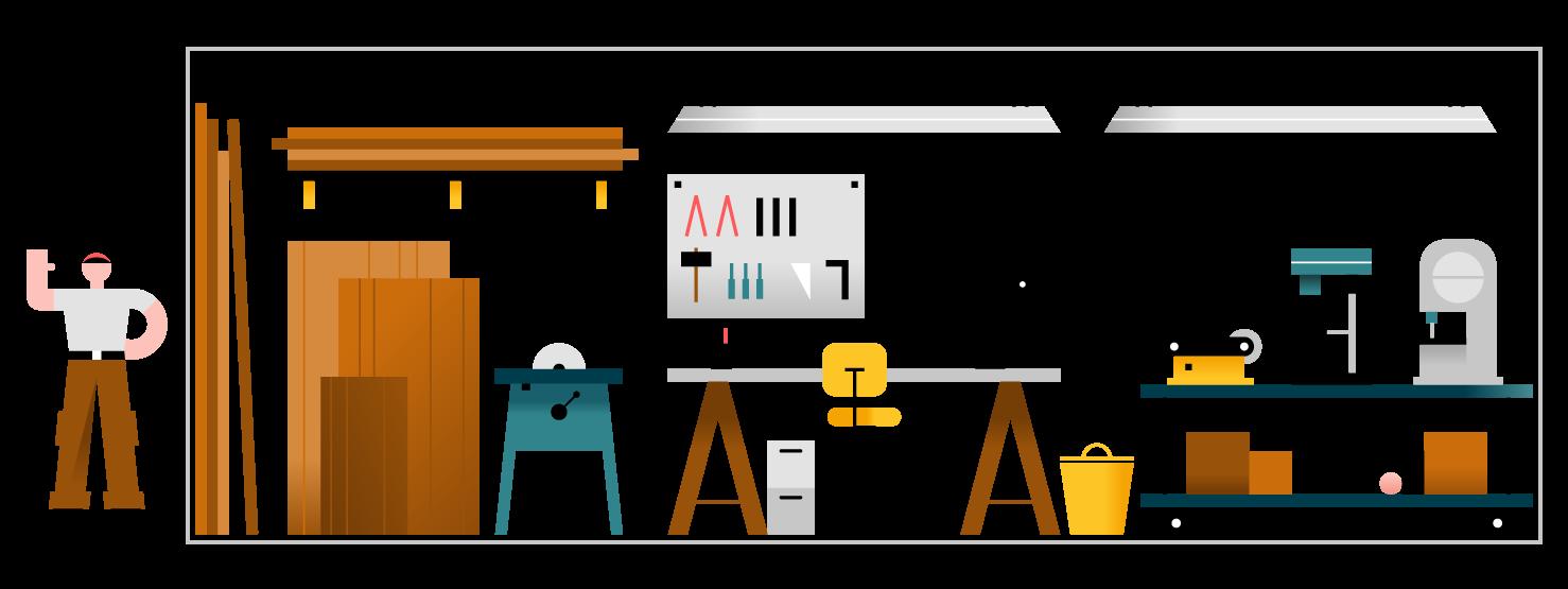 Unidad de almacenamiento utilizada como taller.