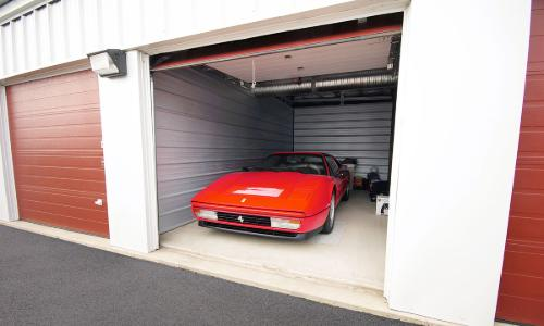 Vehicle being stored in a storage unit