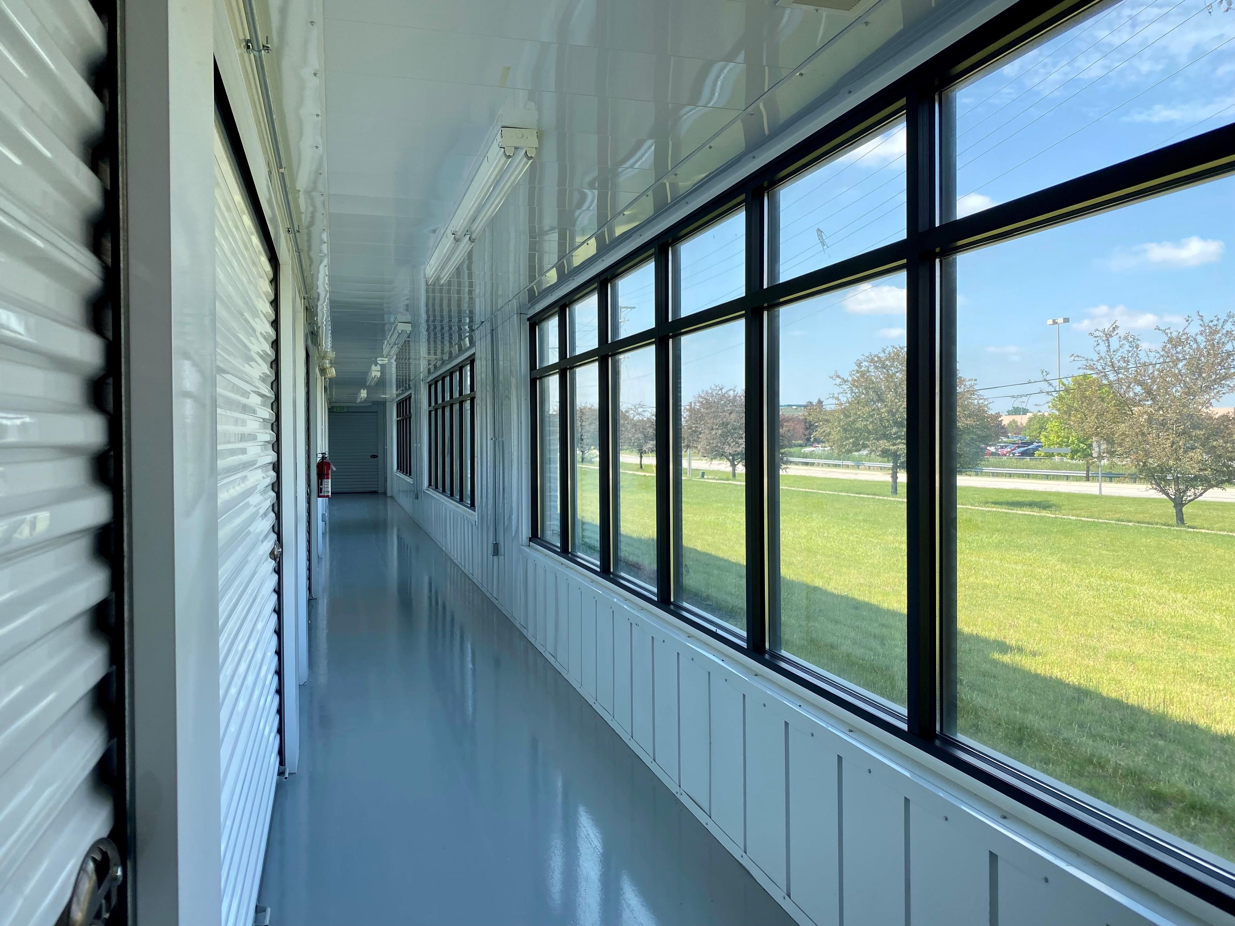 hallway storage units inside of building