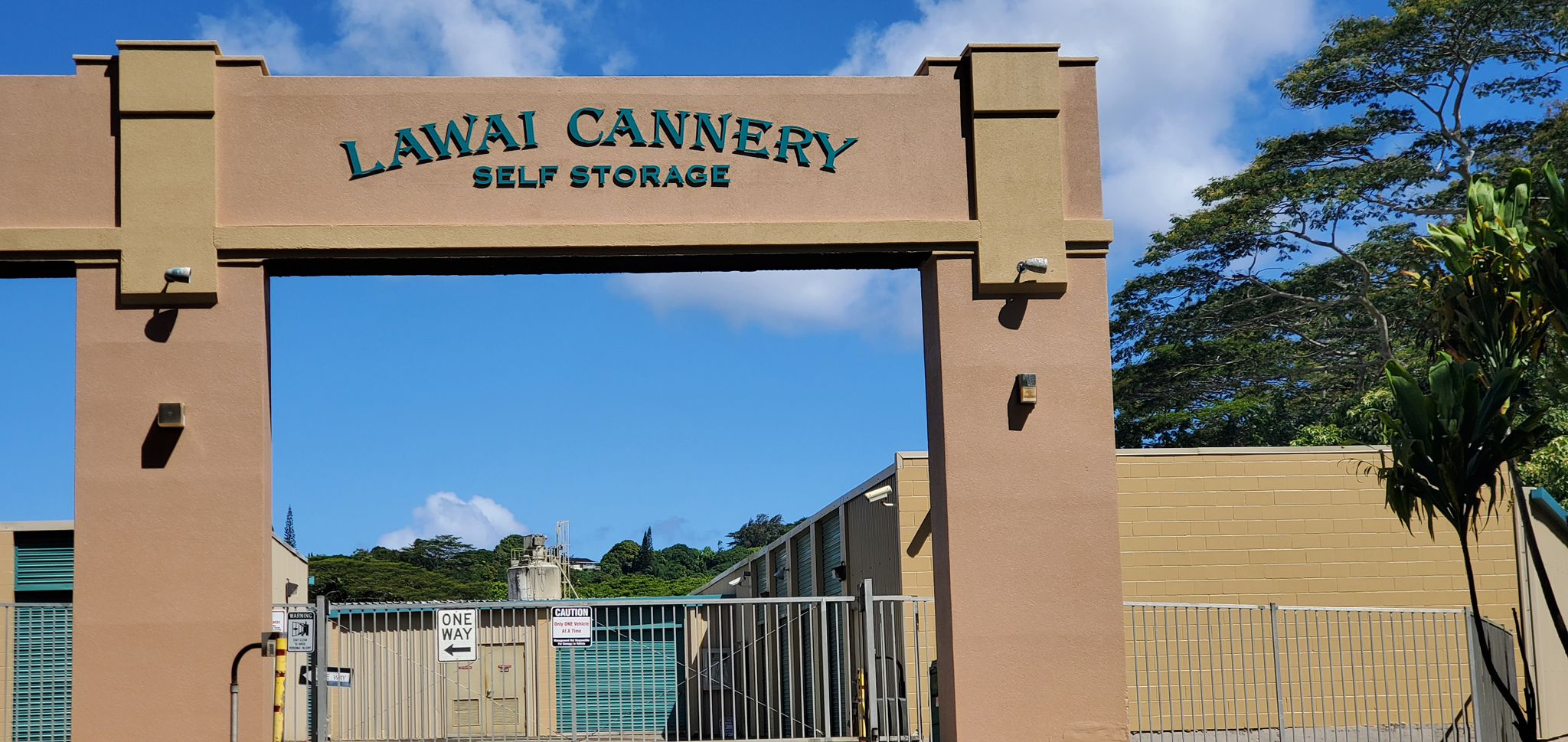 Lawai Cannery Self Storage Front gate and sign