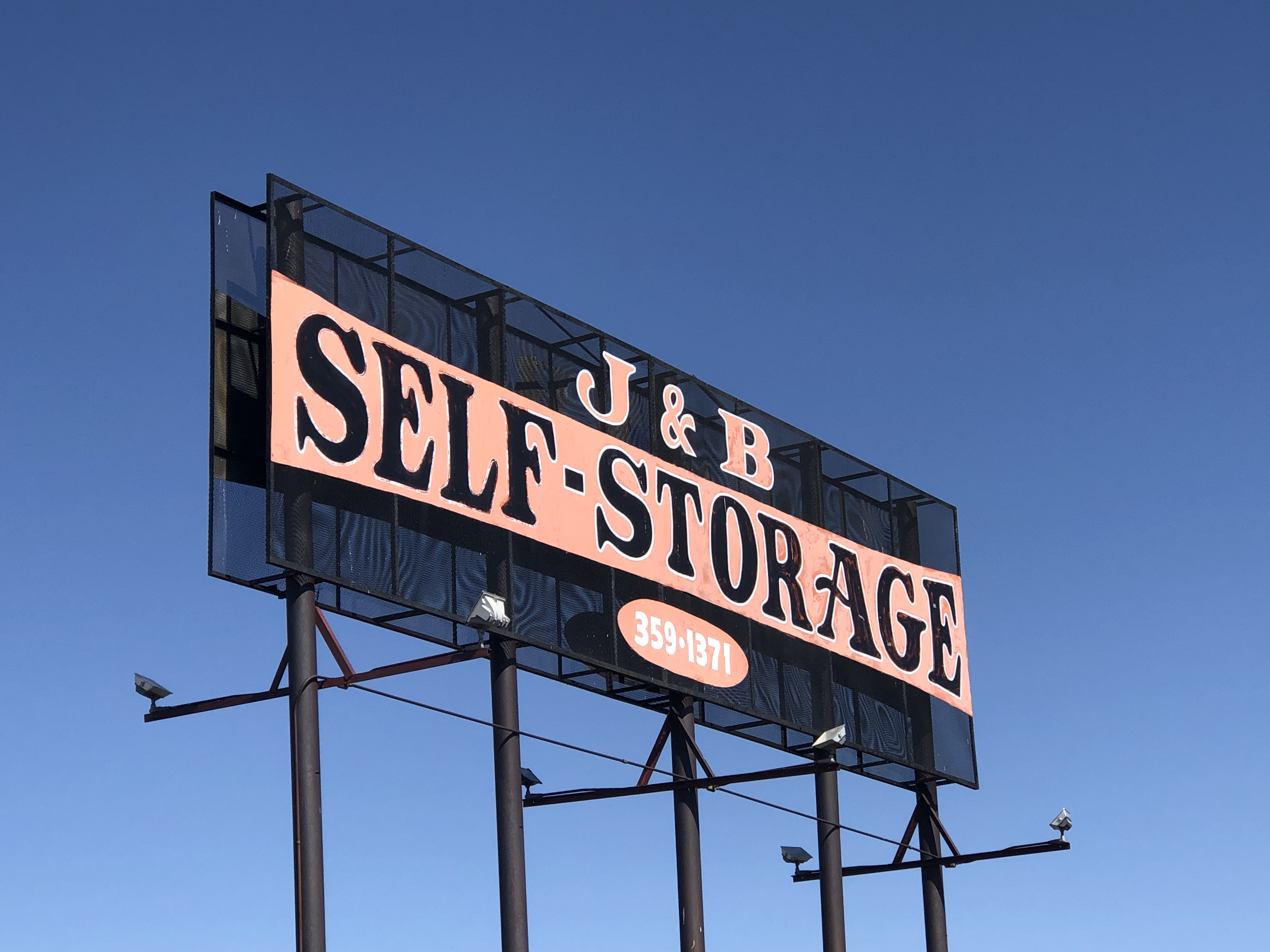 J and B Self Storage front sign