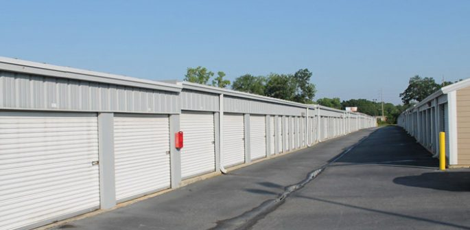 an aisle of storage units in Albany, GA