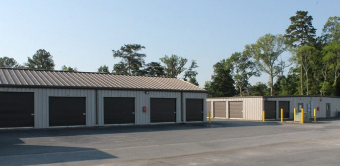 row of storage units with drive up access