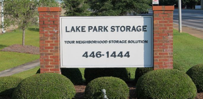 lake park storage sign