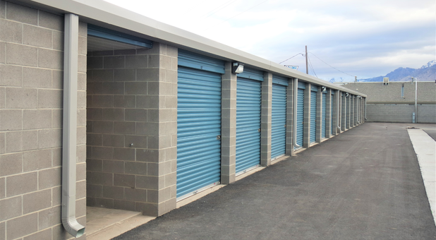 Row of blue storage units at Timp Storage