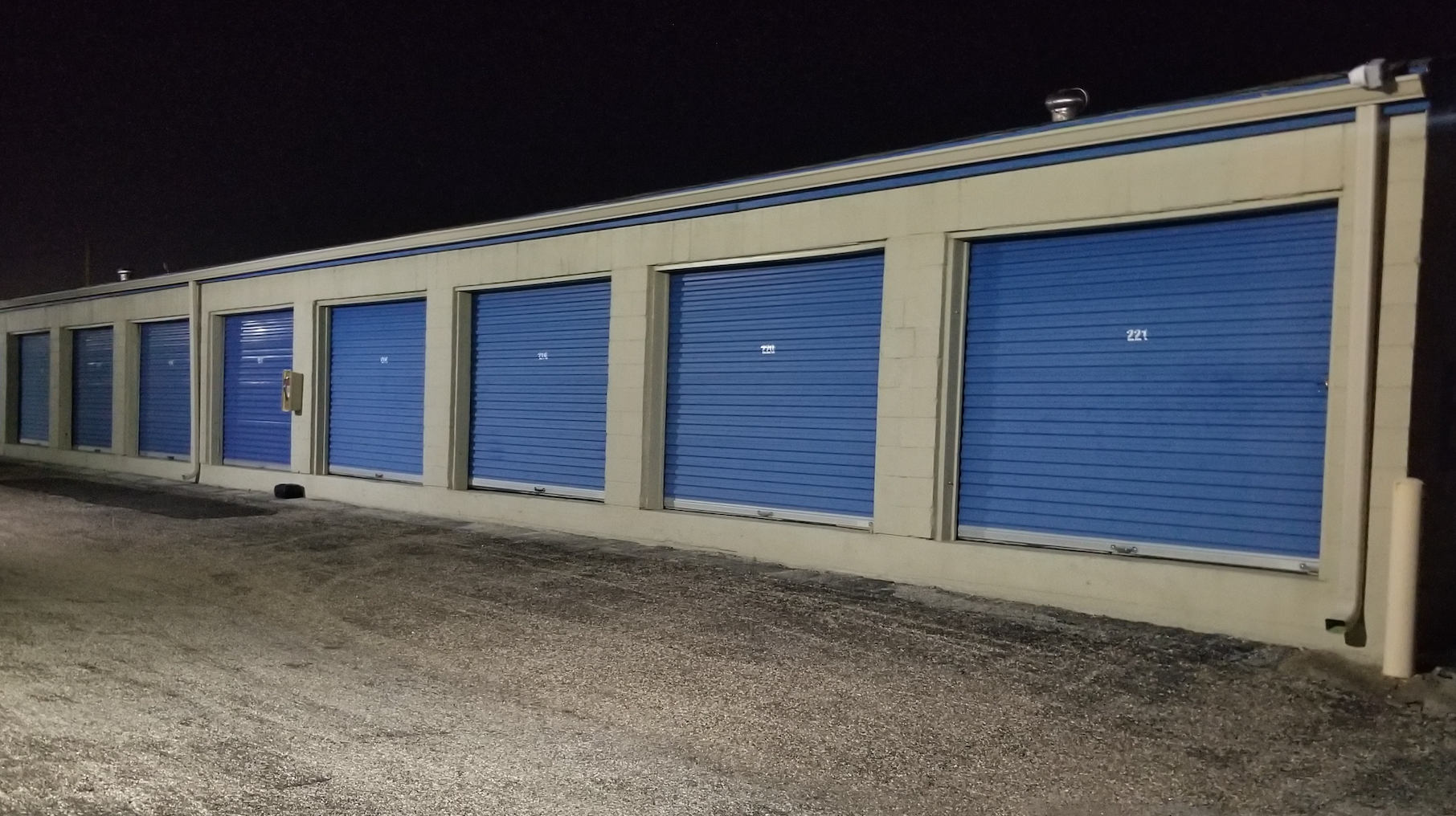 Galveston Self Storage Well Lit at Night