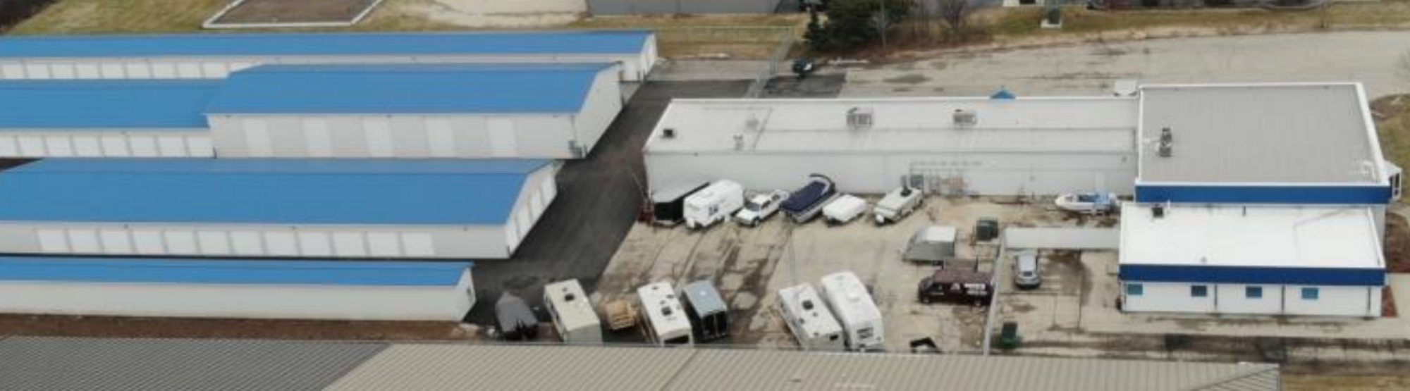Overhead view of self storage facilities in Fond Du Lac, WI