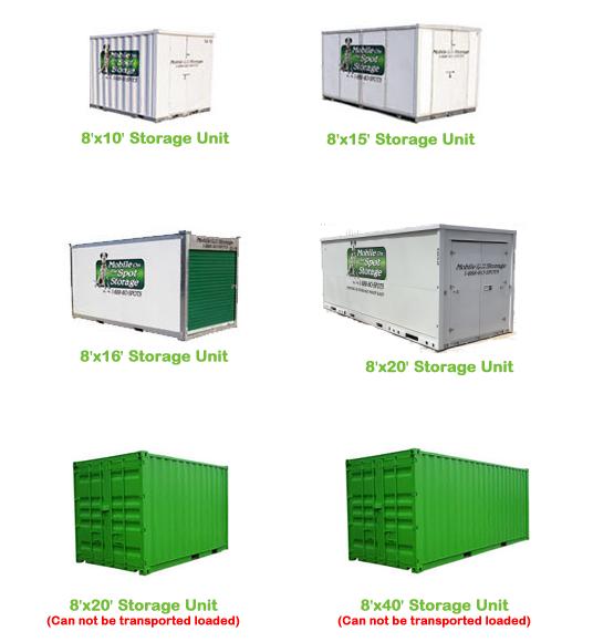 Mobile Storage Unit Sizes