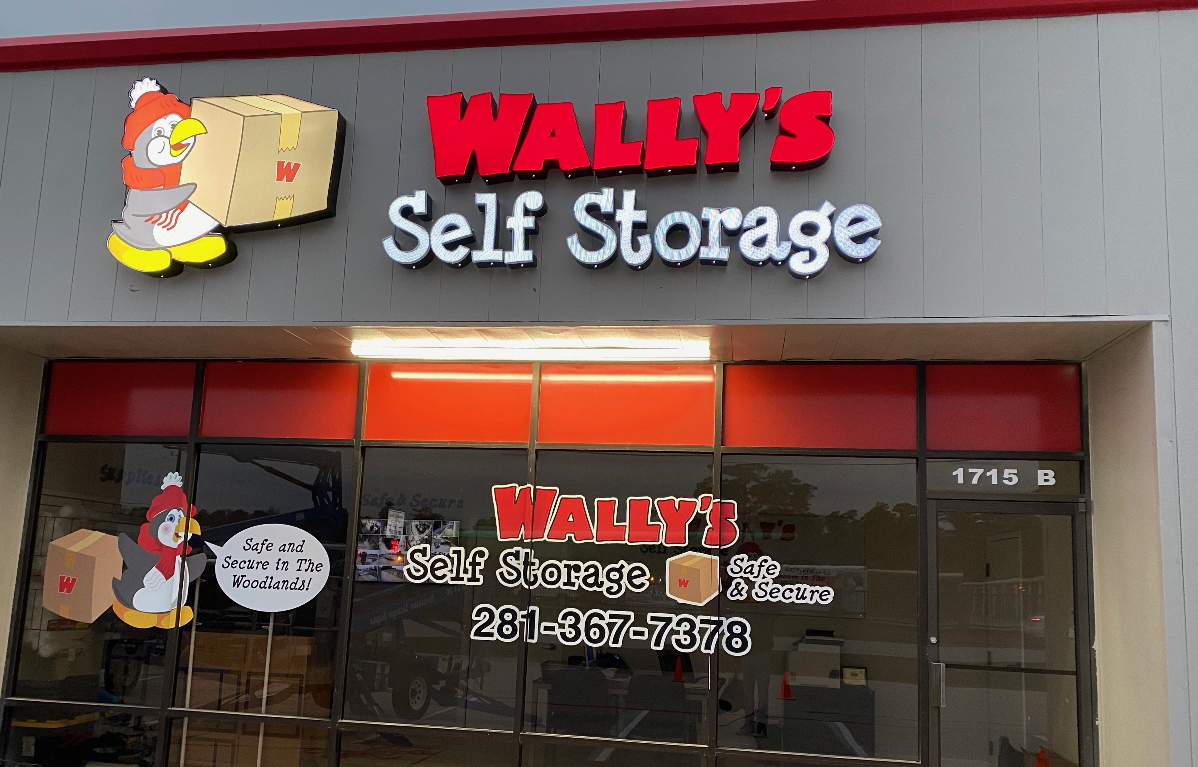 Wally's Self Storage Storefront Lit