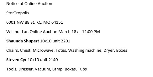 Storage Auctions in Kansas City MO