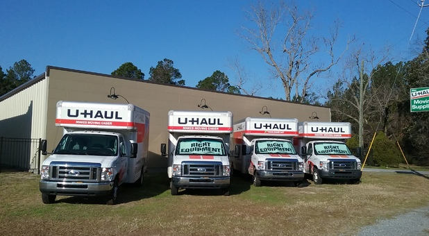 Row of U-Haul trucks in Springfield, GA