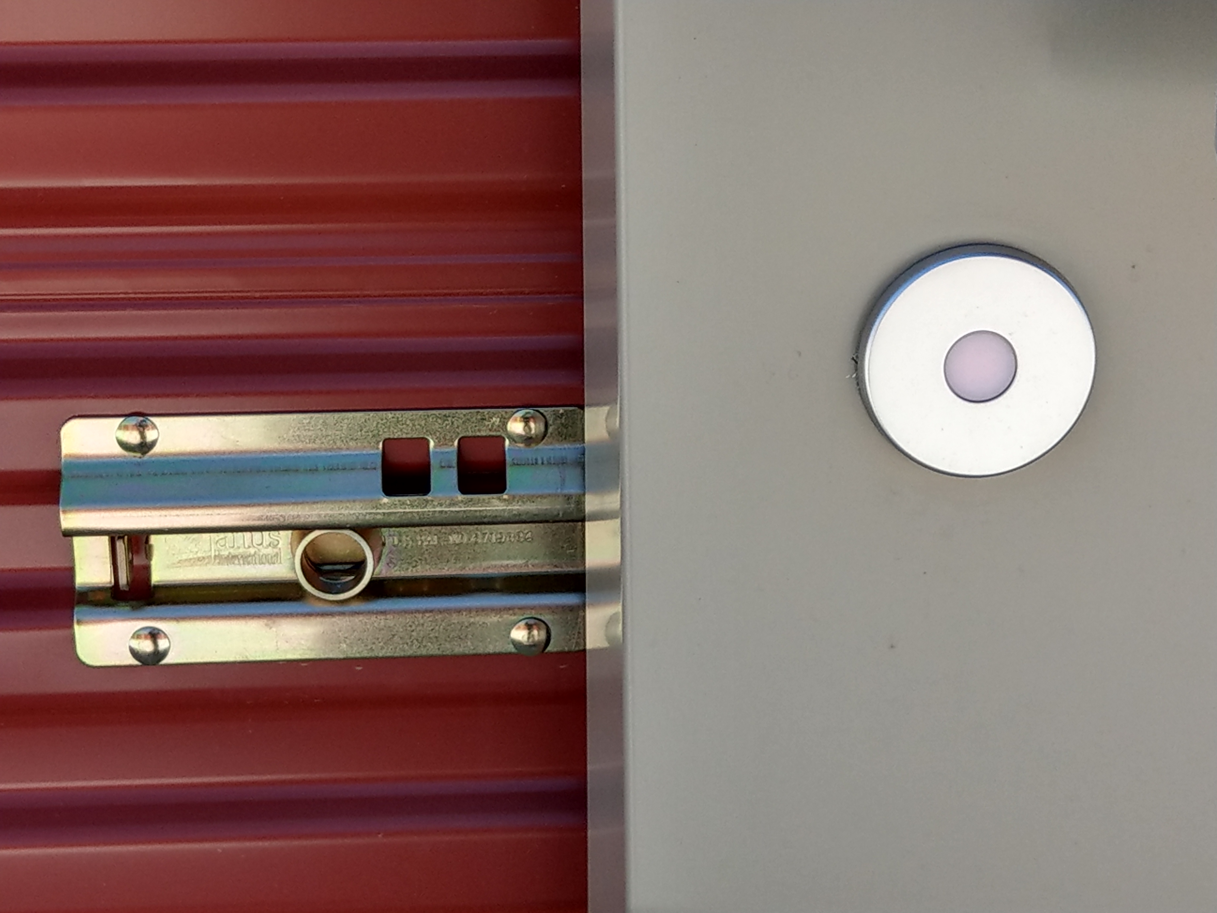 close up of a lock on a storage unit door