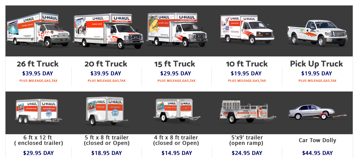 U-Haul Rentals options at Rita Ranch Storage Car & Dog Wash