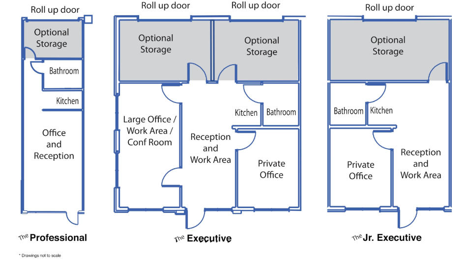 Several layouts for office suites in McDonough, GA