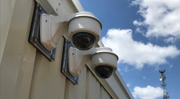 Security cameras around the storage facility
