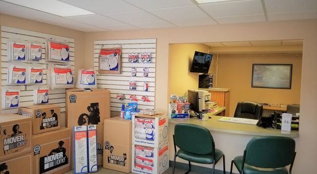 Front desk and packing merchandise at Stop-N-Stor - Oregon