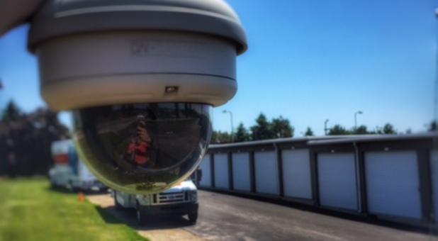 Video surveillance surrounds the facility