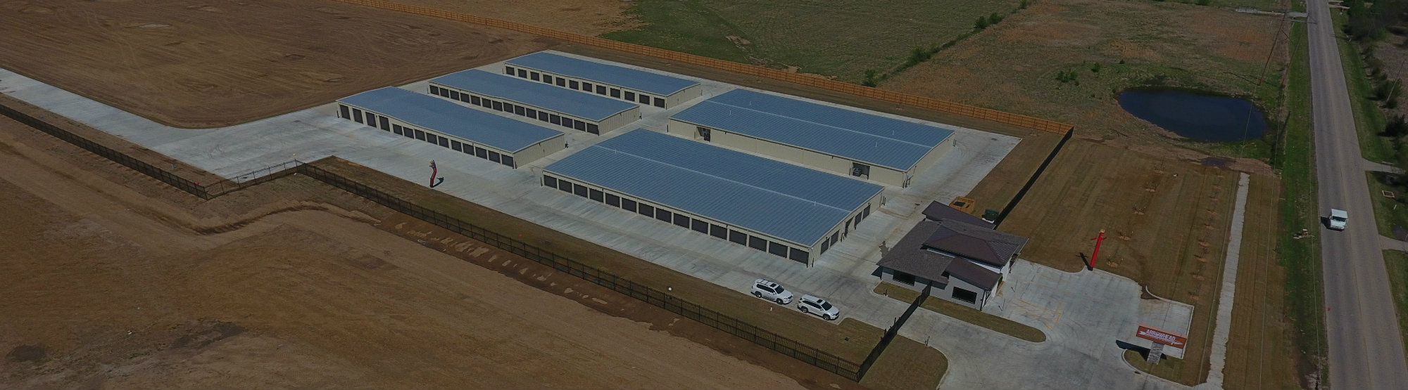 Overhead view of Arrowhead Self Storage units in Glenpool, OK