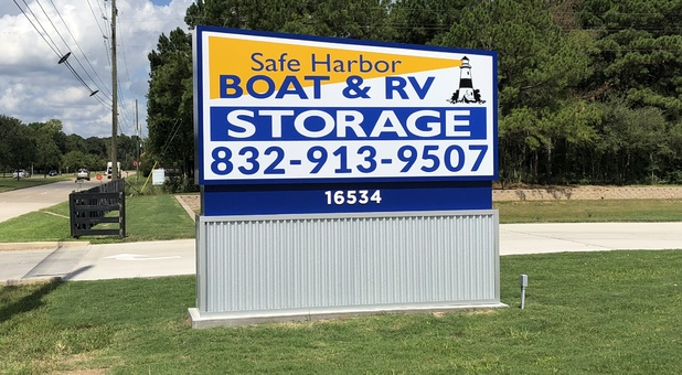 Road-side sign for Safe Harbor Boat and RV Storage