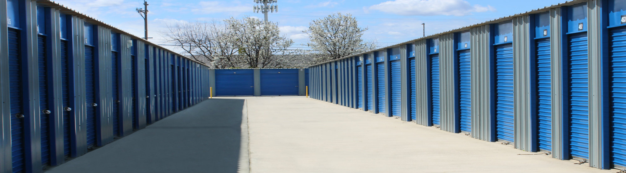 Rows of self storage units in California