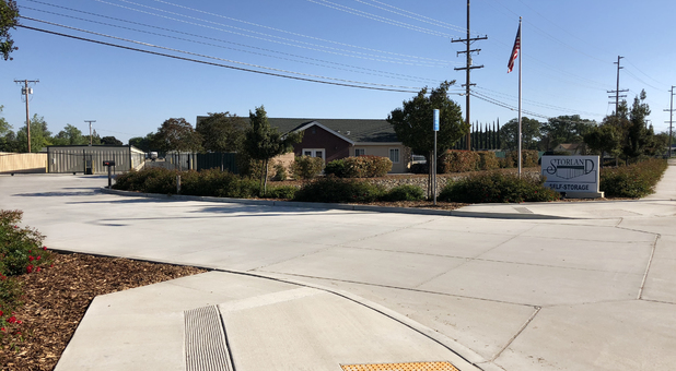 Roadside view of Storland Self Storage Tulare entrance