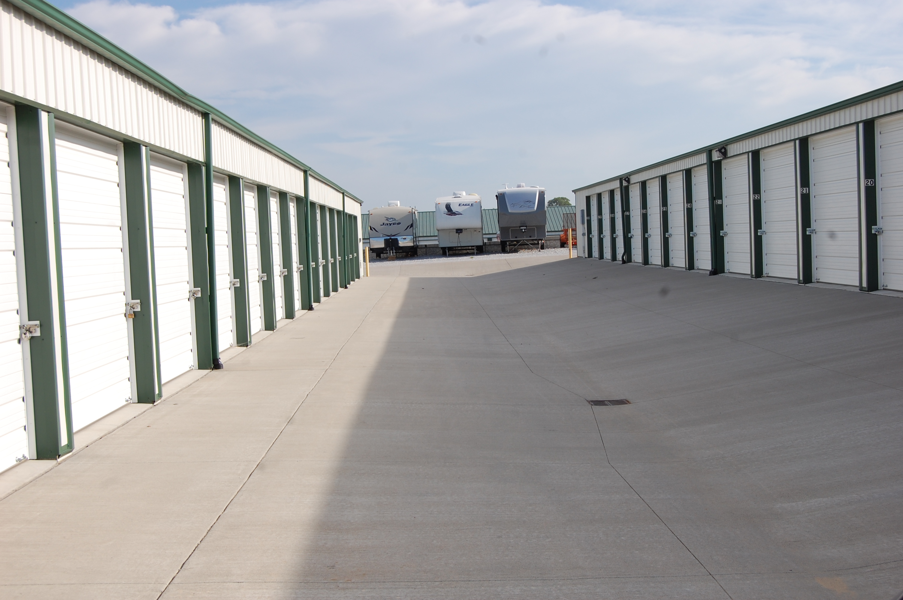 Wide drive up access with our outdoor storage units
