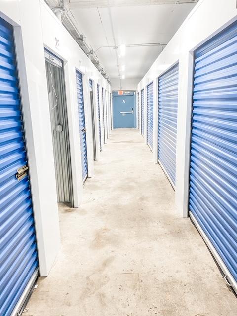 hallway with self storage units