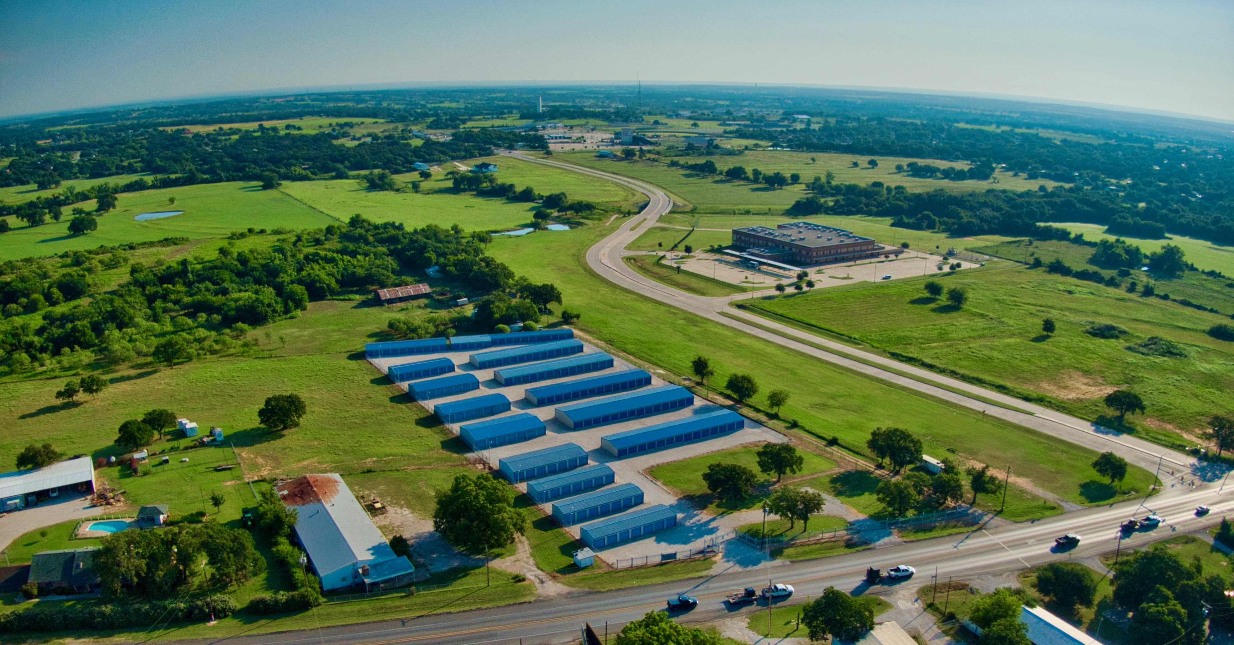 overhead view of self storage facility