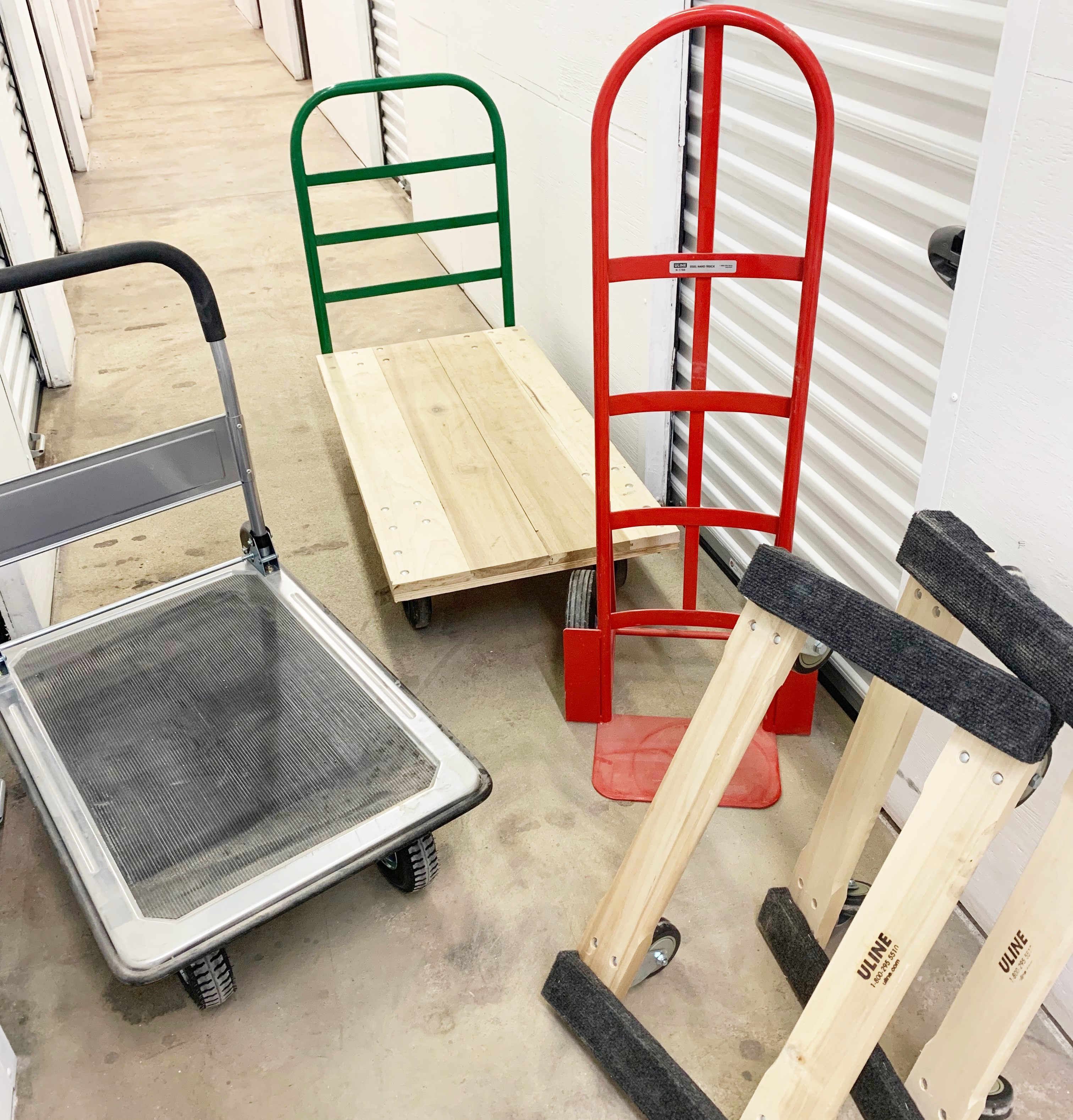 dollies and handcarts stored for use