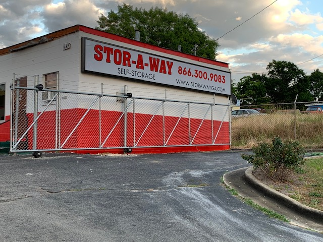 Storaway storage front gate and sign