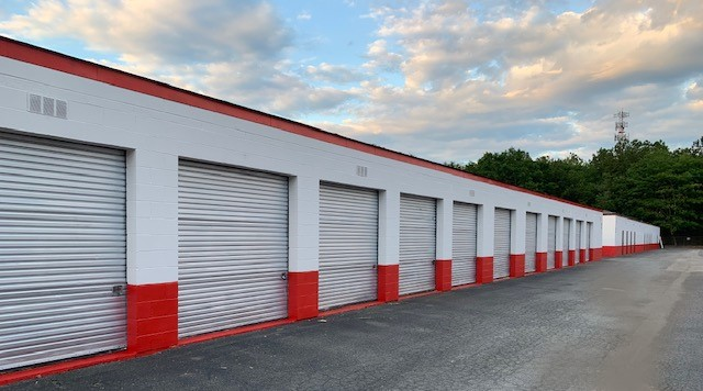 row of drive up access storage units